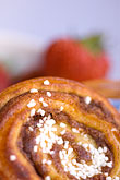 tea stock photography | Food, Cinnamon bun and strawberries, image id 5-710-2326