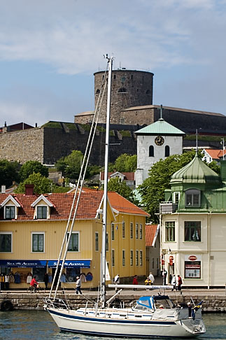 image 5-710-2371 Sweden, Marstrand, Sailboat in harbor