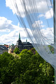 curtain stock photography | Sweden, Stockholm, Humlegarden, from window of Lydmar Hotel, image id 5-720-4288