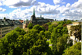 curtain stock photography | Sweden, Stockholm, Humlegarden, from window of Lydmar Hotel, image id 5-720-4293