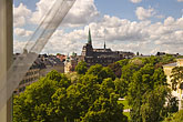 curtain stock photography | Sweden, Stockholm, Humlegarden, from window of Lydmar Hotel, image id 5-720-4296