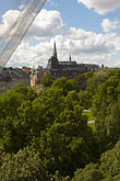 curtain stock photography | Sweden, Stockholm, Humlegarden, from window of Lydmar Hotel, image id 5-720-4297