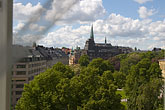 curtain stock photography | Sweden, Stockholm, Humlegarden, from window of Lydmar Hotel, image id 5-720-4301
