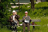 two mature men stock photography | Sweden, Stockholm, Couple beside Royal Canal, image id 5-720-6669