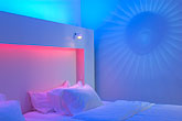 illuminated stock photography | Sweden, Stockholm, Nordic Light Hotel, room interior, image id 5-720-6829