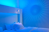 illuminated stock photography | Sweden, Stockholm, Nordic Light Hotel, room interior, image id 5-720-6832