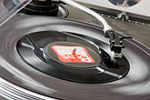 listen stock photography | Sweden, Stockholm, Turntable at street fair, image id 5-720-7167