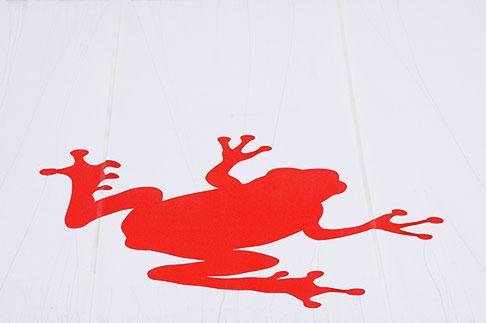 image 5-720-7317 Sweden, Stockholm, Red frog awning