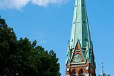 sunlight stock photography | Sweden, Stockholm, Church steeple, image id 5-720-7515