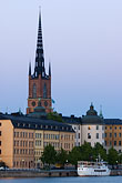 illuminated stock photography | Sweden, Stockholm, Riddarholmen church, image id 5-720-7875