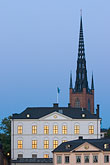 illuminated stock photography | Sweden, Stockholm, Riddarholmen church, image id 5-720-7892