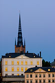 illuminated stock photography | Sweden, Stockholm, Riddarholmen church, image id 5-720-7899