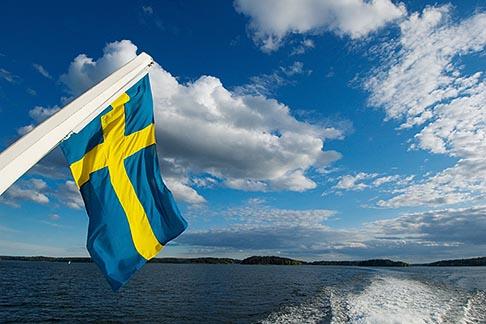 image 5-730-3331 Sweden, Stockholm Archipelago, Swedish flag