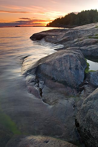 image 5-730-3394 Sweden, Grinda Island, Sunset on rocks