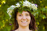 happy stock photography | Sweden, Grinda Island, Woman wih flower wreath for midsummer, image id 5-730-3419