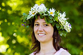 woman stock photography | Sweden, Grinda Island, Flowerwreath, image id 5-730-3445