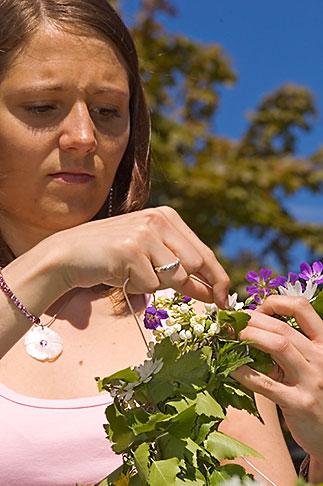 image 5-730-3528 Sweden, Grinda Island, Making a flower wreath