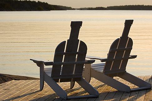image 5-730-6532 Sweden, Grinda Island, Adirondack chairs