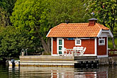 red boathouse stock photography | Sweden, Grinda Island, Boathouse, image id 5-730-6613