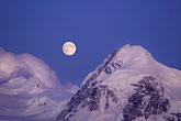 snow capped stock photography | Switzerland, Alps, Moon over the Breithorn, image id 2-106-14