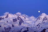 elevated view stock photography | Switzerland, Alps, Moonrise over the Breithorn, image id 2-106-28