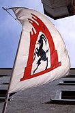 windswept stock photography | Switzerland, Chur, Flag with design from canton of Graub�nden, image id 2-108-37