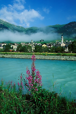 image 2-88-16 Switzerland, Engadin, Samedan and the Inn River