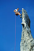 mountain climber stock photography | Switzerland, Bergell, Rappelling on La Fiamma, image id 2-98-3