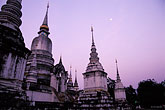 moon over wat phra that doi suthep stock photography | Thailand, Chiang Mai, Wat Suan Dok, image id 0-360-84