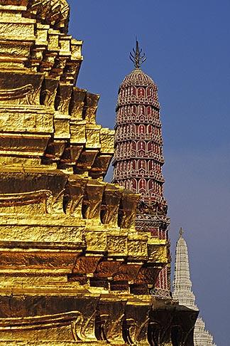 image 4-194-14 Thailand, Bangkok, Gilt pagoda at Wat Pra Keo