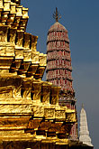 vertical stock photography | Thailand, Bangkok, Gilt pagoda at Wat Pra Keo, image id 4-194-17