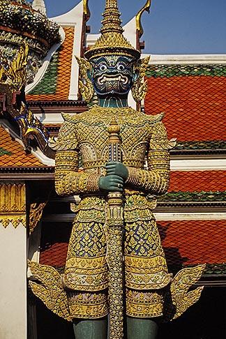 image 4-194-34 Thailand, Bangkok, Statue of a yaksha demon, Wat Pra Keo