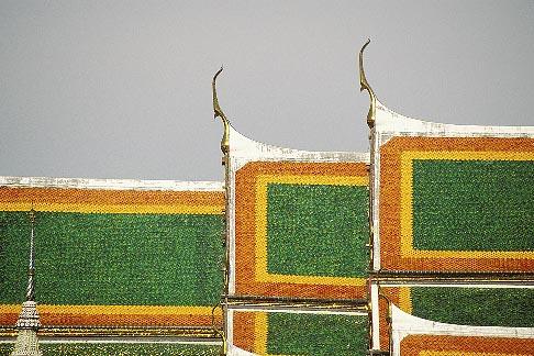 image 4-195-36 Thailand, Bangkok, Temple roof, Wat Pra Keo