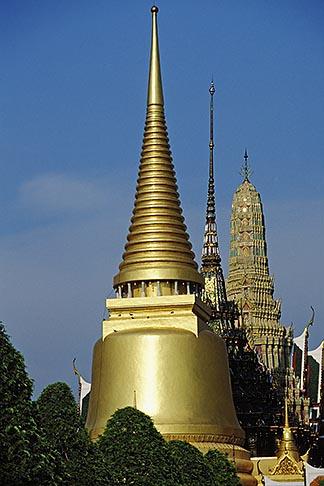 image 4-198-17 Thailand, Bangkok, Gilt pagoda of Chedi Pra Si Ratana at Wat Pra Keo