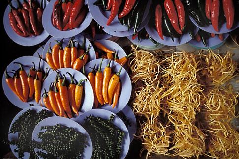 image 7-504-37 Thailand, Bangkok, Chillies in market, Nonthaburi