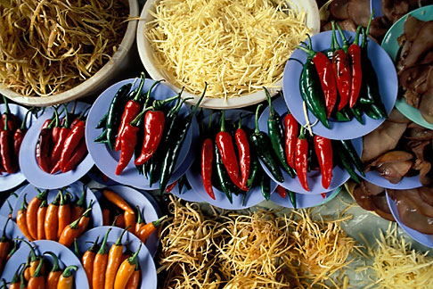 image 7-516-8 Thailand, Bangkok, Chillies and noodles in market