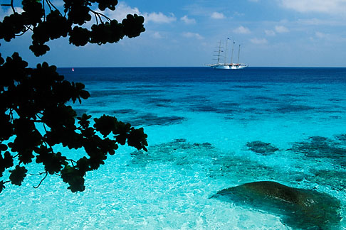 image 7-541-33 Thailand, Similan Islands, Sailing ship offshore