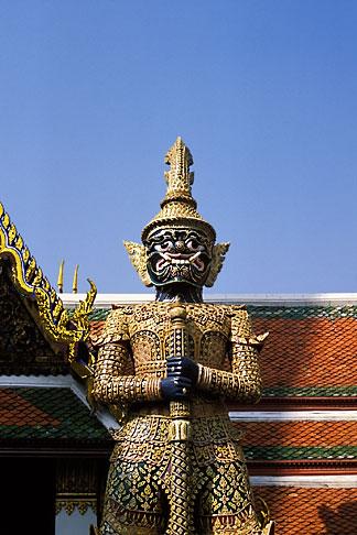 image S3-101-2 Thailand, Bangkok, Statue of a yaksha demon, Wat Pra Keo