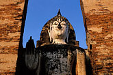orange robe stock photography | Thailand, Sukhothai, Wat Mahathat, image id S3-103-4