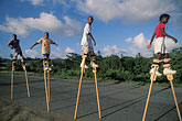 four girls stock photography | Tobago, Children practising stilt-walking for Carnival, image id 8-62-28