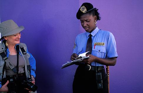 image 8-11-20 Trinidad, Port of Spain, Policewoman giving ticket