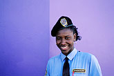 blue stock photography | Trinidad, Port of Spain, Policewoman, image id 8-11-30