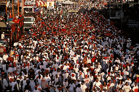 image 8-142-11 Trinidad, Carnival, Dancers passing main grandstand