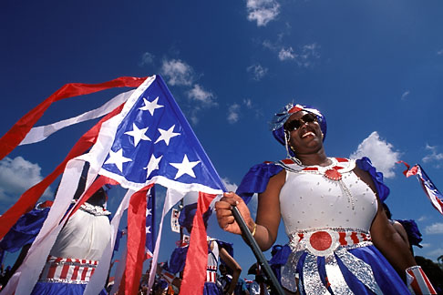 8-164-12  stock photo of Trinidad, Carnival, Costumed dancers in parade