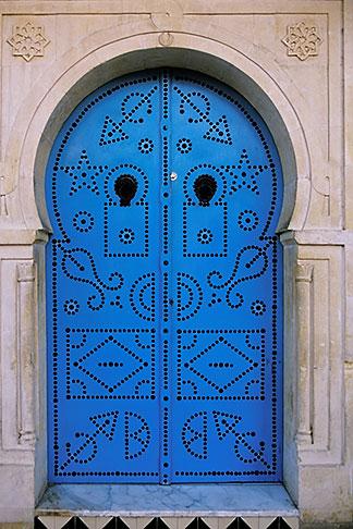 image 3-1100-1 Tunisia, Sidi Bou Said, Painted doorway