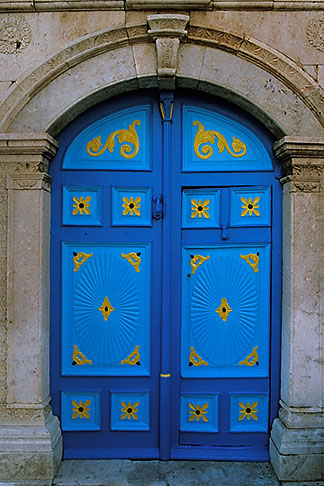image 3-1100-3 Tunisia, Sidi Bou Said, Painted doorway