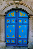 decorated door stock photography | Tunisia, Sidi Bou Said, Painted doorway, image id 3-1100-3