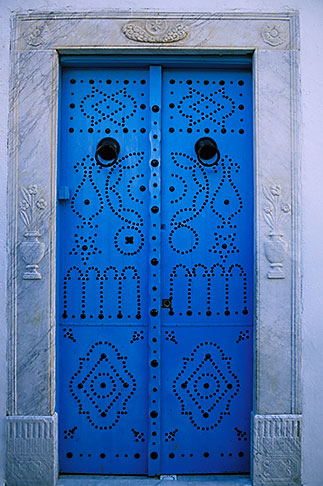 image 3-1100-4 Tunisia, Sidi Bou Said, Painted doorway