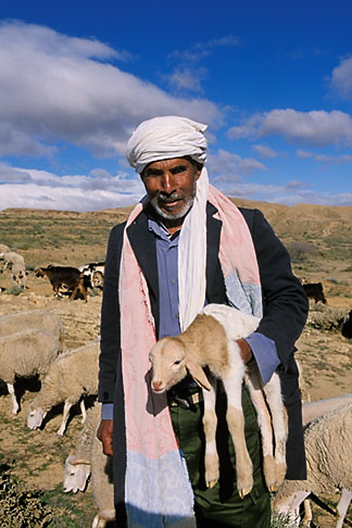 image 3-1100-45 Tunisia, Shepherd holding lamb