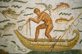 fishing boat stock photography | Tunisia, Tunis, Bardo Museum, Roman mosaic, image id 3-1100-8